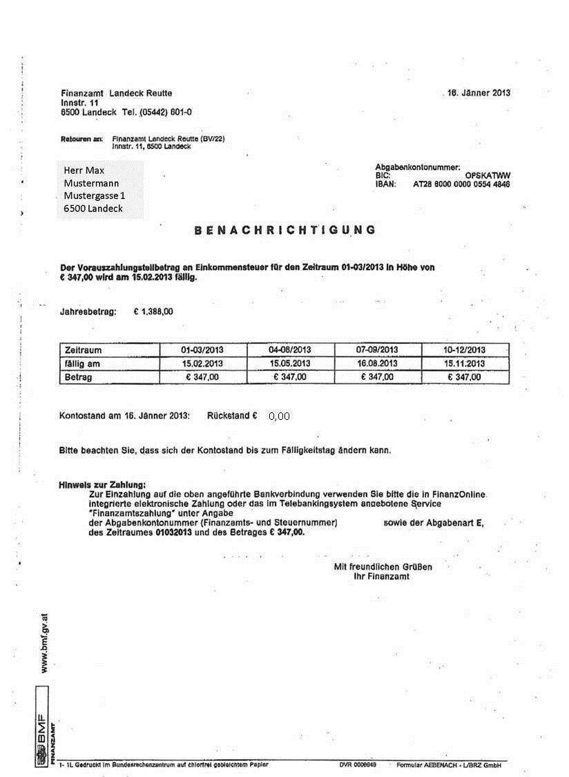 Finanzamt Benachrichtigung Vorauszahlung 2013