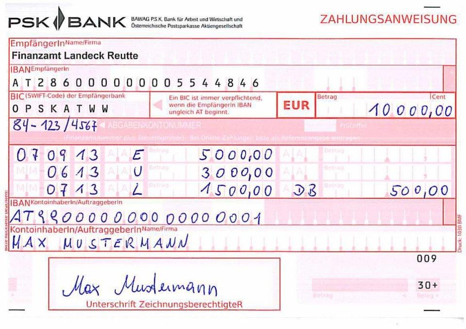 Finanzamtzahlschein NEU